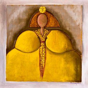 Menina María Lourdes 100x100 cm. Óleo sobre lienzo I Oil on canvas